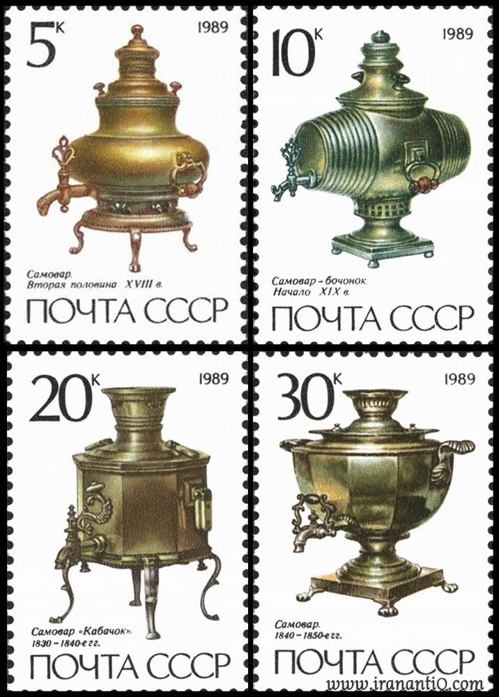 نقش سماور های روسی بر روی تمبر هایشان