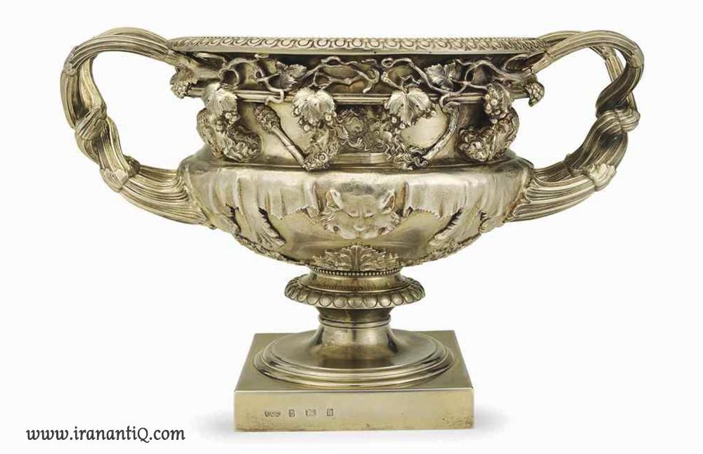 گلدان نقره آب طلا کاری شده ( مطلا ) ویکتوریایی