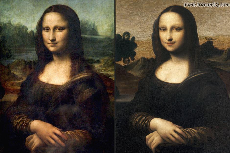 اصل تابلوی مونالیزا ( سمت چپ ) و  کپی آن ( سمت راست)