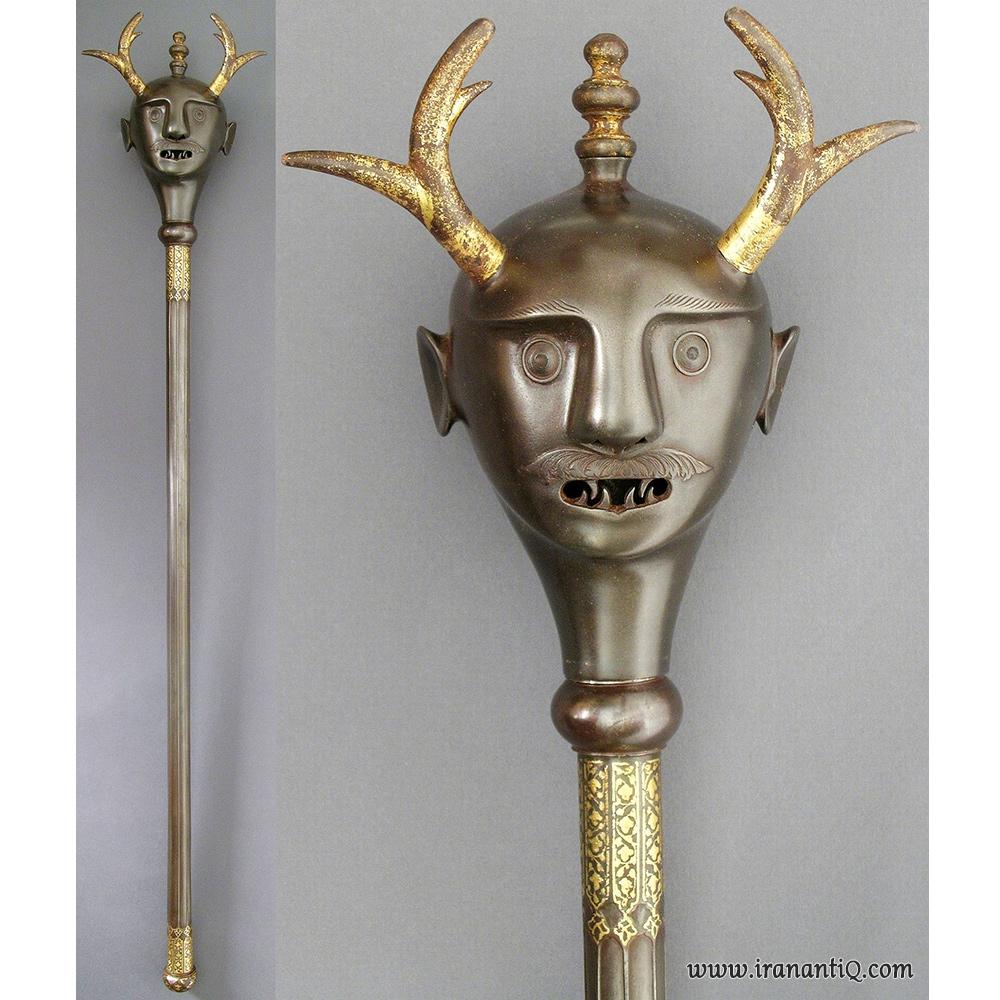 گرز با سر دیو شاخدار ، از جنس فولاد ، طلا کاری شده ، ایران ، قرن 18 میلادی ، محل نگهداری : موزه هنر های زیبای لس آنجلس