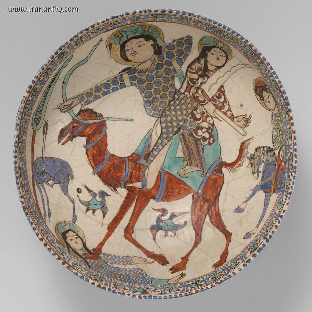 بهرام گور ، اواخر قرن 12 - اوایل قرن سیزدهم ملادی ، ایران ، احتمالا کاشان ، محل نگهداری : موزه متروپولیتن