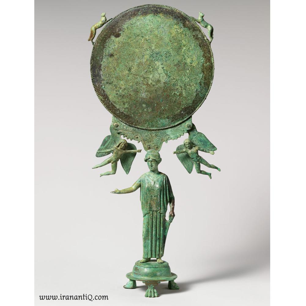 آینه ای از جنس برنز ، میانه قرن 5 قبل از میلاد ، یونان