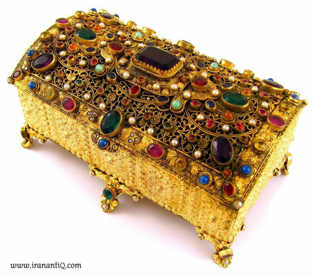 جعبه جواهر مرصع کاری شده با جواهر و سنگ های قیمتی ، 1900 میلادی ، اتریش
