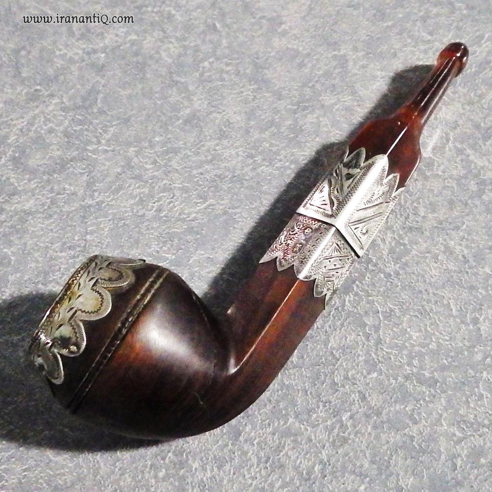 پیپ بریار فرانسوی که با نقره مزین شده است / Briar Pipe
