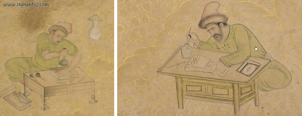 میز تحریر پایه کوتاه ، برگرفته از مرقع گلشن ، 1624-1582 میلادی