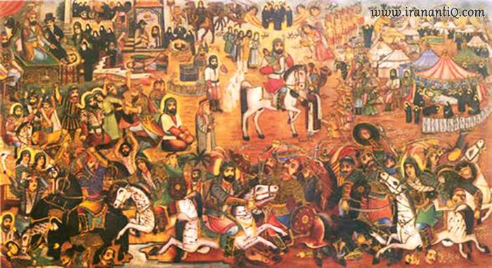 نقاشی قهوه خانه ای با نام مصیبت کربلا ، اثر حسین قوللر آغاسی ، محل نگهداری : موزه هنرهای زیبا در مجموعه فرهنگی سعد آباد