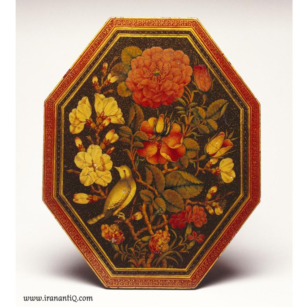 قاب آینه هشت ضلعی با طرح گل و مرغ ، اثر لطفعلی شیرازی ، 1871 - 1802 میلادی