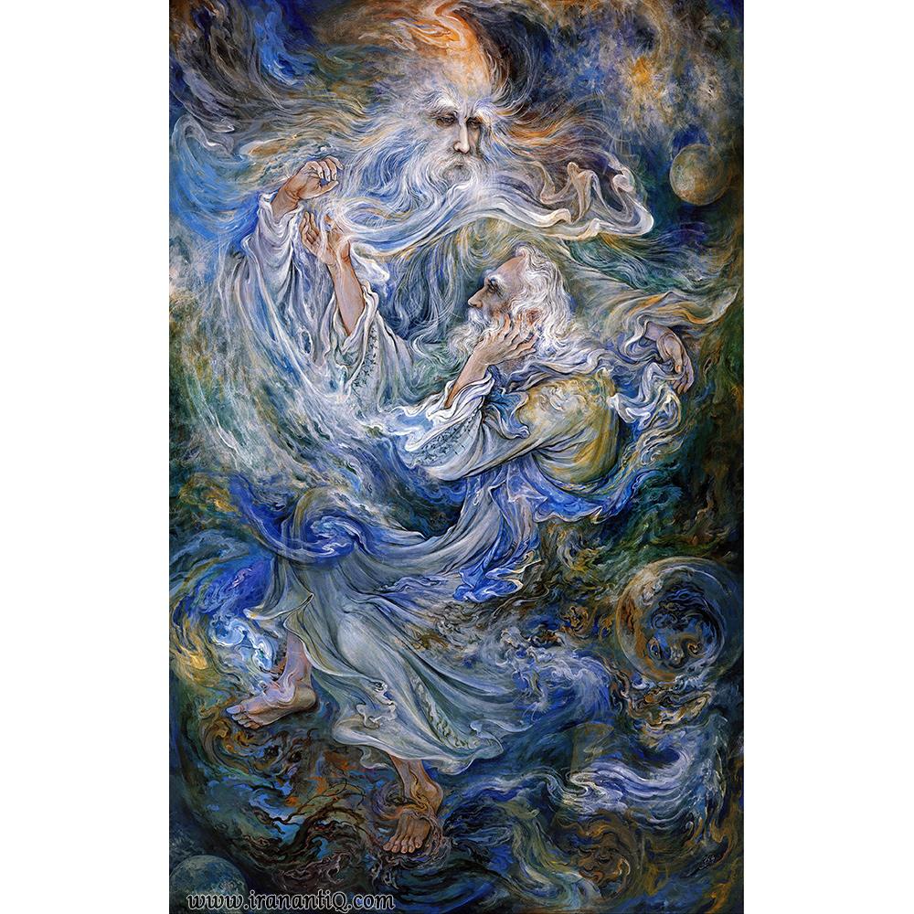 تابلوی مولانا و شمس ، اثر استاد محمود فرشچیان