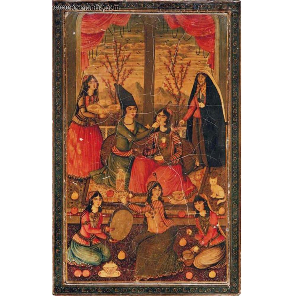 قاب آیینه به شیوه پاپیه ماشه ، مربوط به دوره قاجار