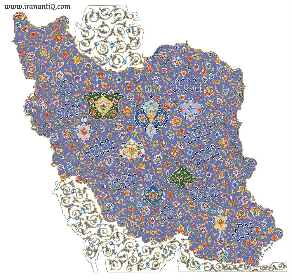تذهیب نقشه ایران