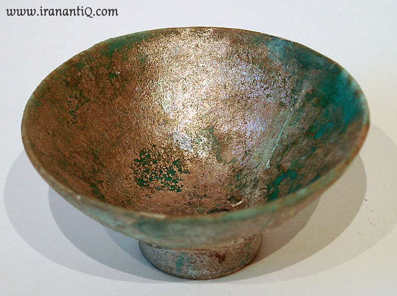 Persian Turquoise glazed pottery bowl Sassanian Dynasty ca. 224 651