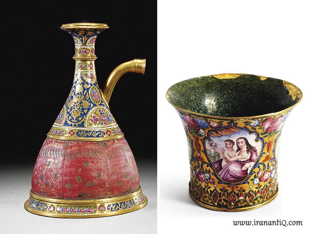 پایه قلیان و سر قلیان مطلا ، مینا کاری ، مربوط به دوره قاجار