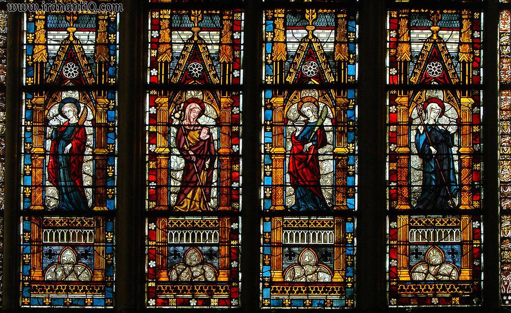 شیشه نقاشی شده قرون وسطی ، کلیسای Troyes ، فرانسه ، قرن چهاردهم میلادی