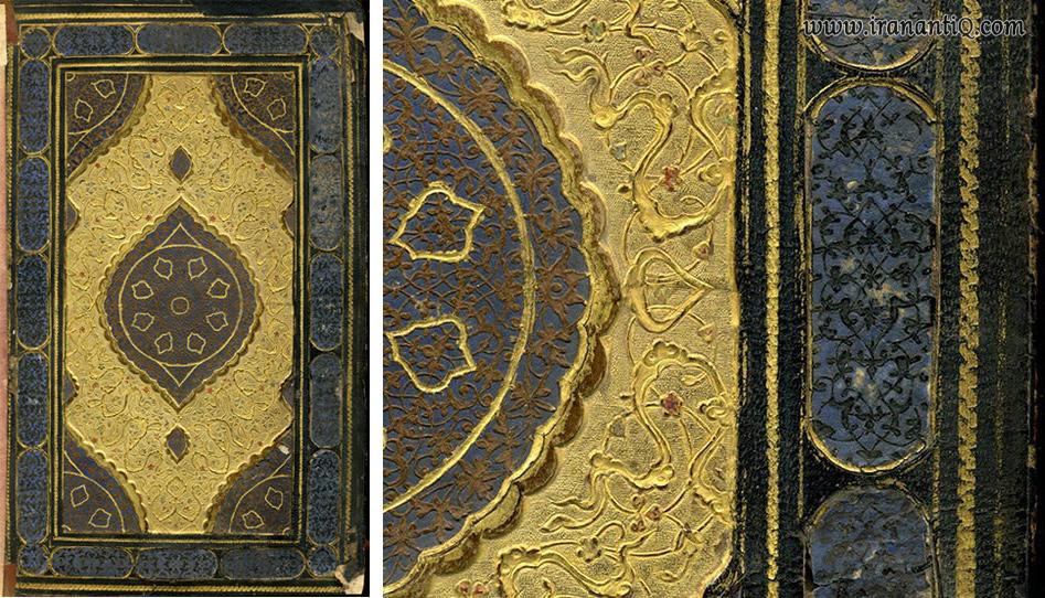 جلد معرق طلا کاری شده ، مربوط به آستر دستنویس از پنج گنج نظامی ، نسخه 4393 ، مورخ 933 ه.ق ، محل نگهداری : موزه ایران باستان