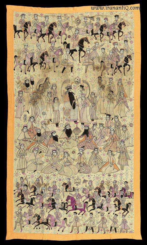 ابریشم دوزی بر روی کتان با نگاره های پادشاهان شاهنامه فردوسی  ، فریدون-جمشید-بهرام ، سده 19 ترسایی ، محموعه خصوصی مزایده بن هامس