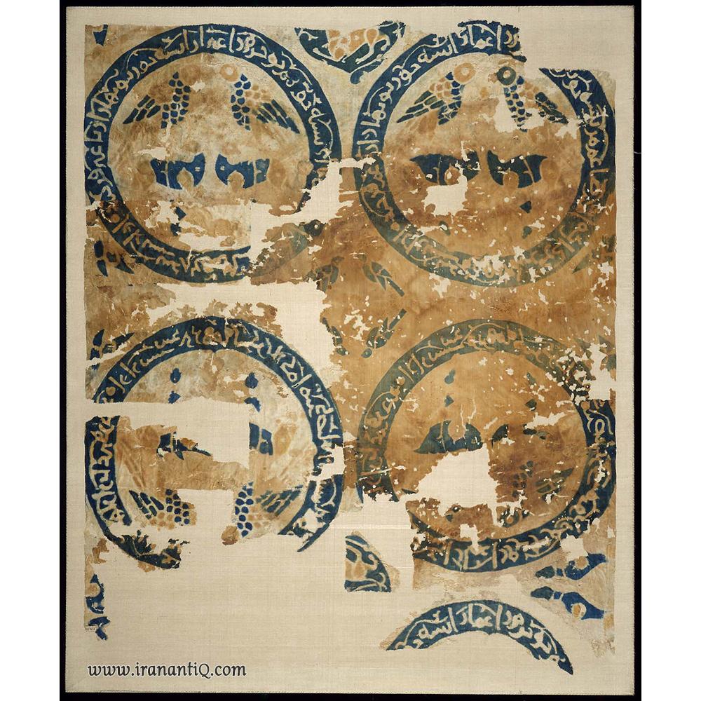 پارچه ای با طرح گوزن و پرنده ، اواخر قرن 12 میلادی ، مربوط به سلجوقیان