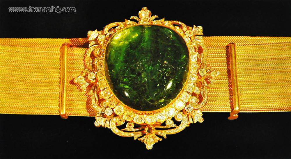 کمربند زرین ، زمرد به وزن 176 قیراط ، مربوط به دوره قاجار