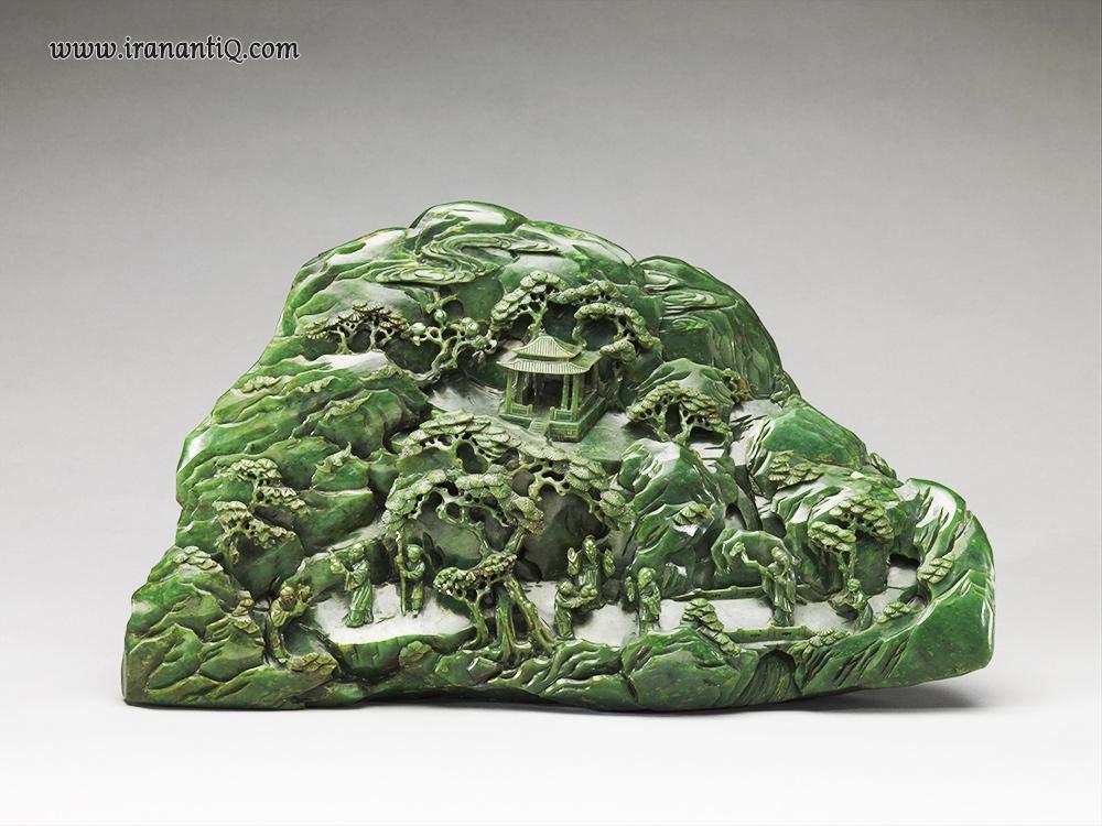 کتیبه ای از سنگ نفریت با موضوع بهشت دائو ، مربوط به سلسله چینگ ( 1911 - 1644 ) ، قرن 18، موزه متروپولیتن