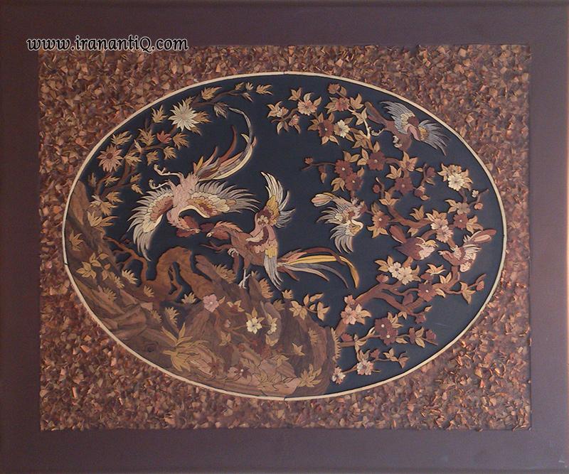 Mosaic on wood ، موزاییک روی چوب ، معرق روی چوب