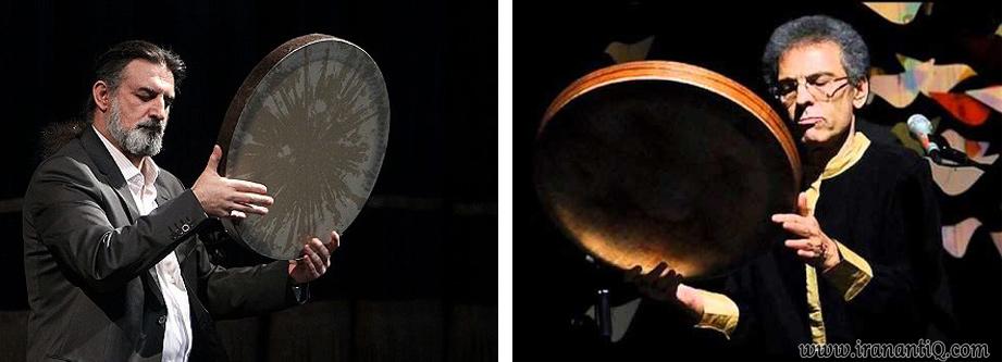 استاد بیژن کامکار ( تصویر راست ) و استاد مسعود حبیبی ( تصویر چپ ) ، از نوازندگان دف