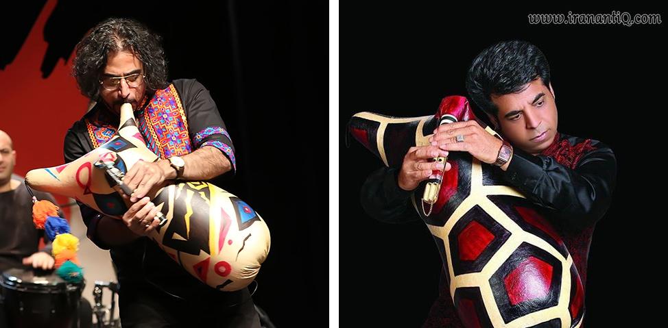 کریم ادریس پور ( تصویر سمت راست ) و محسن شریفیان ( تصویر سمت چپ ) ، از نوازندگان مطرح نی انبان