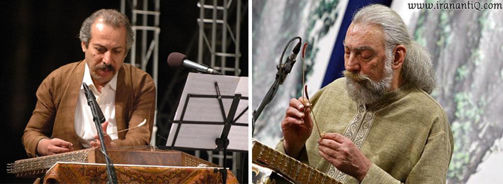 پرویز مشکاتیان (تصویر سمت راست) و پشنگ کامکار (تصویر سمت چپ) ، از نوازندگان بنام سنتور