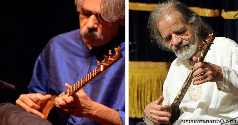 استاد جلال ذوالفنون (تصویر سمت راست ) و کیهان کلهر (تصویر سمت چپ) ، نوازندگان سه تار