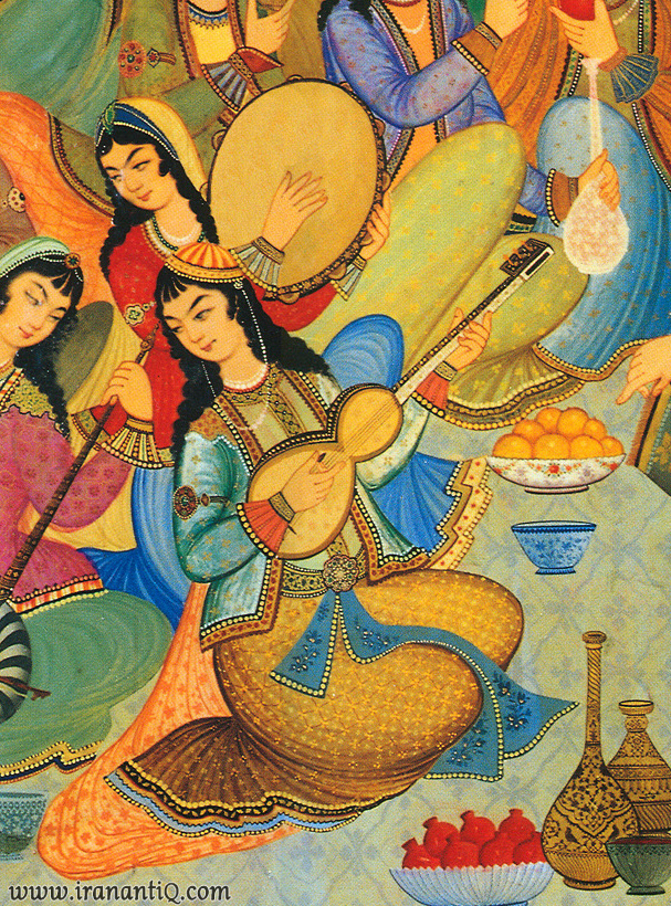 زنی در حال نواختن تار ، گوشه ای از نقاشی عمارت هشت بهشت اصفهان ، مربوط به دوره صفوی