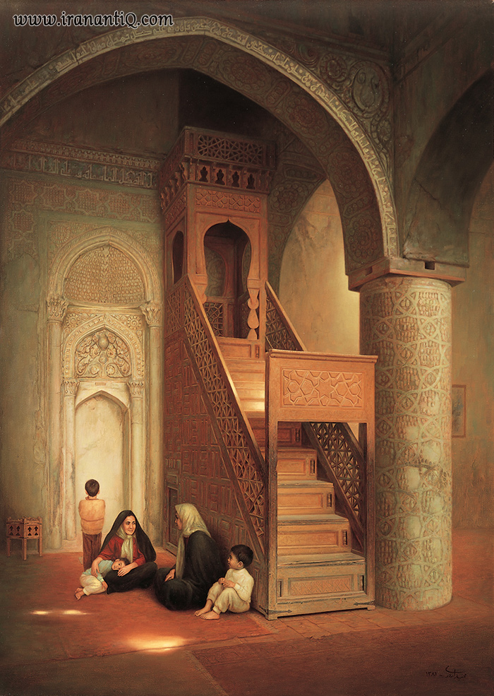 نقاشی از مسجد جامع نائین ؛ منبر منبت مشبک ؛ 711 هجری قمری