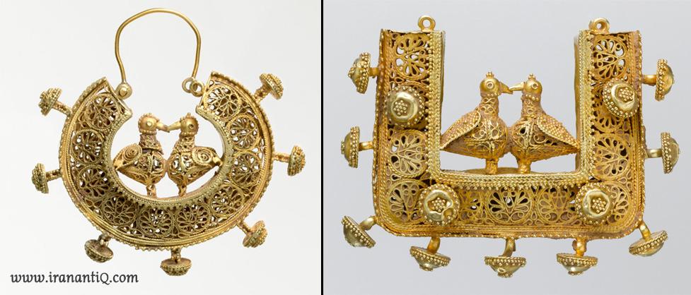 گوشواره هایی مربوط به قرن 11 - 12 میلادی ، ایران ، محل نگهداری : موزه متروپولیتن