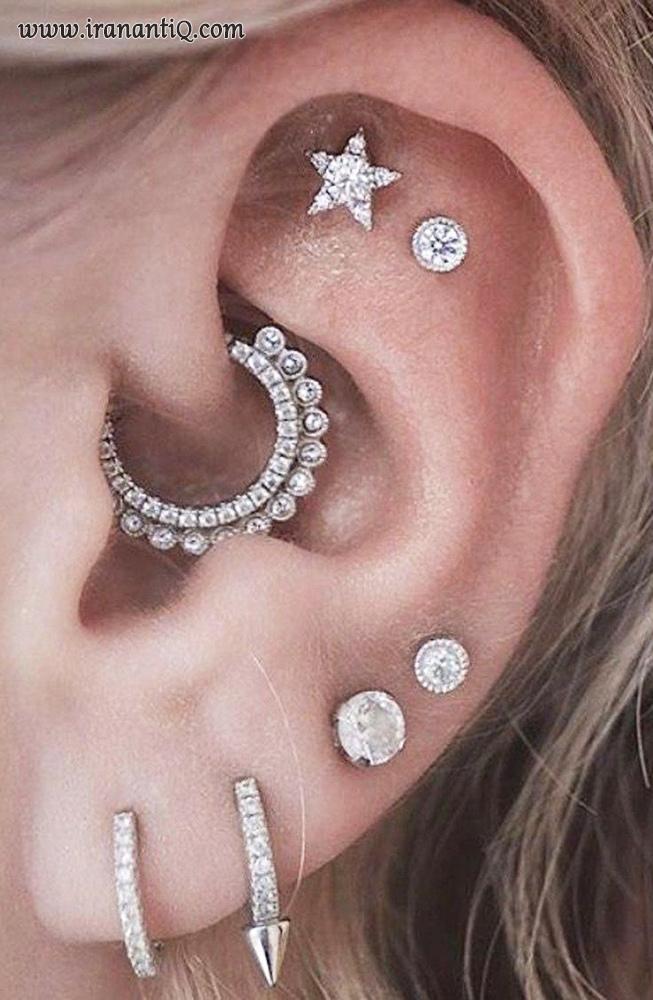 استفاده از گوشواره های متعدد بر روی نرمه و غضروف گوش