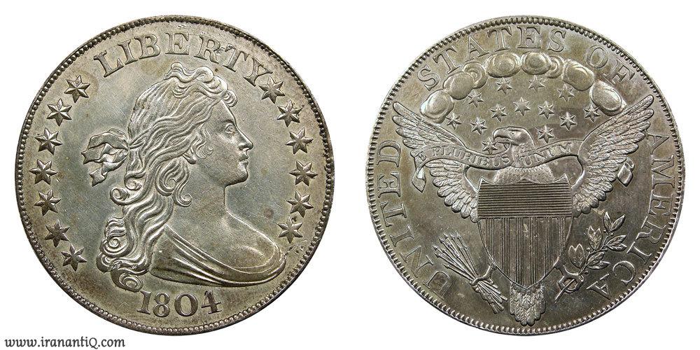 دلار نیم تنه نوع یک سال 1804 (Draped Bust Dollars : First Reverse - Original - Class I)