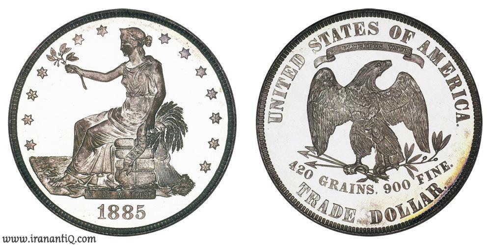 دلار تجاری پروف سال 1885(Trade Dollars : Proof Only)
