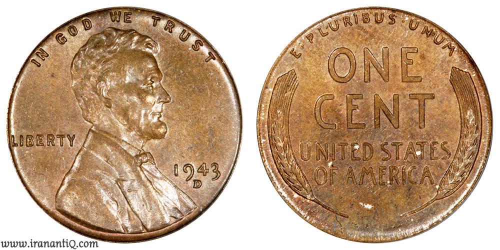 سنت لینکلن سال 1943 (Lincoln Wheat Cent : Bronze/Copper)
