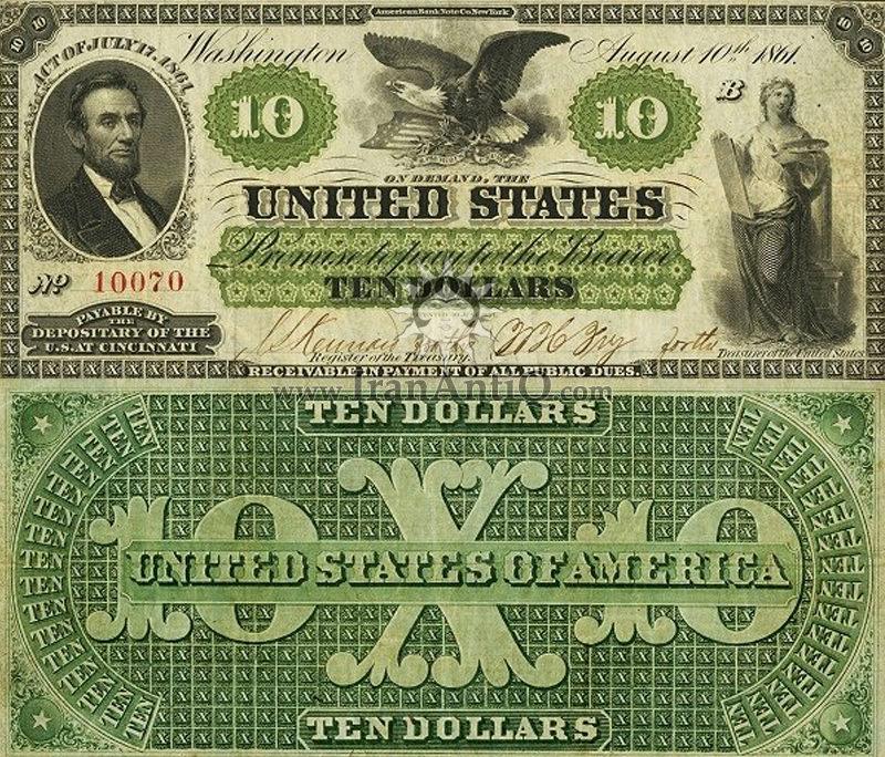 10 دلار سری دیماند - آبراهام لینکلن