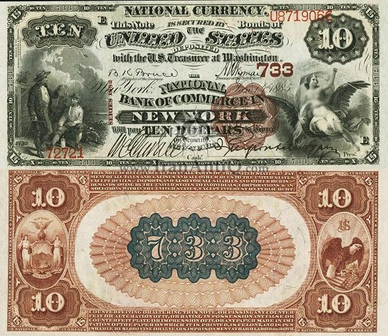 10 دلار سری ملی - مُهر قهوه ای