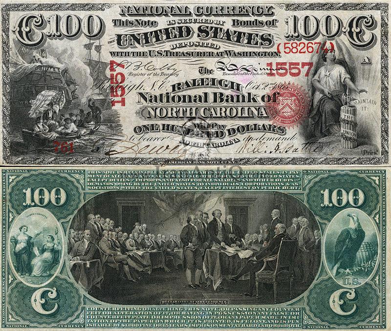 100 دلار سری ملی - اعلان استقلال