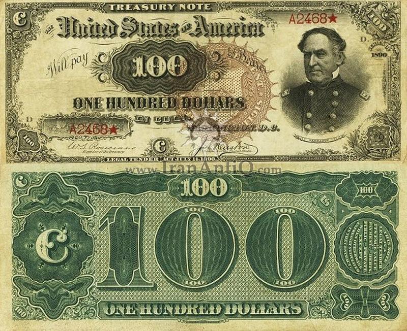 100 دلار سری رایج خزانه داری - دیوید فارگوت - تیپ یک
