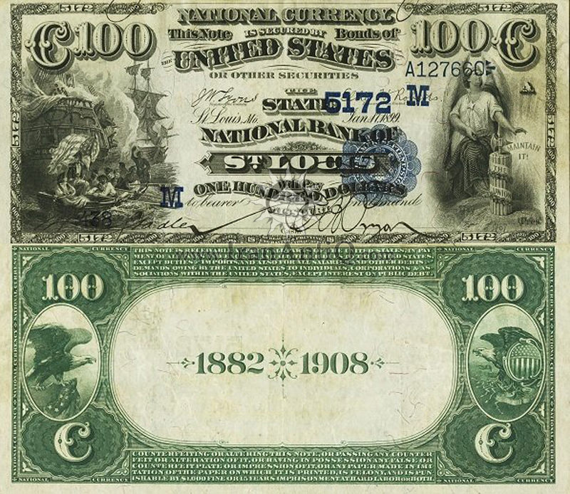 100 دلار سری ملی - مُهر آبی