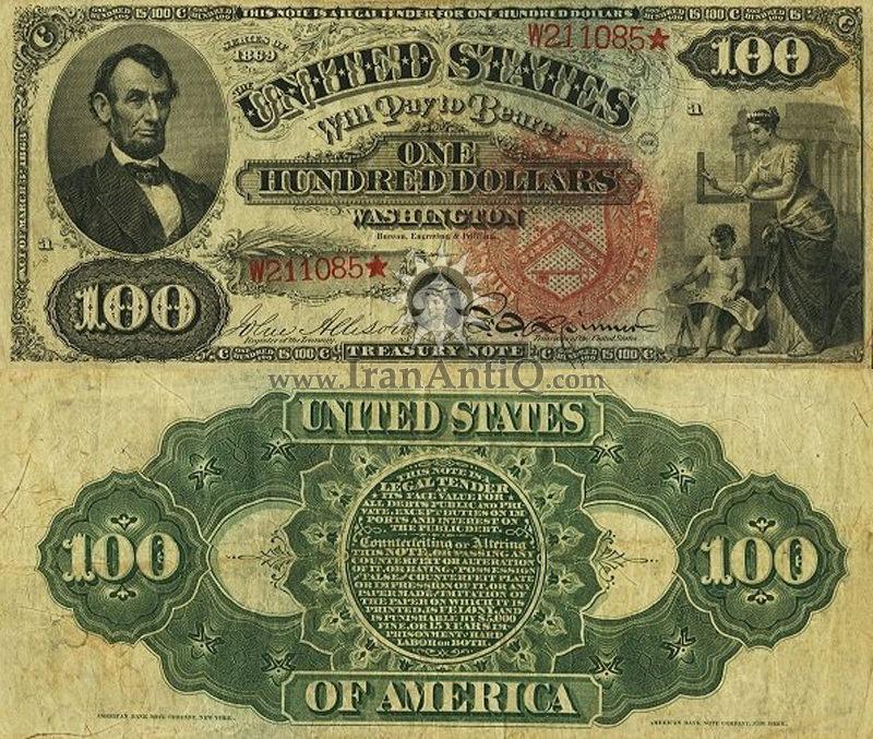 100 دلار سری رایج خزانه داری - آبراهام لینکلن