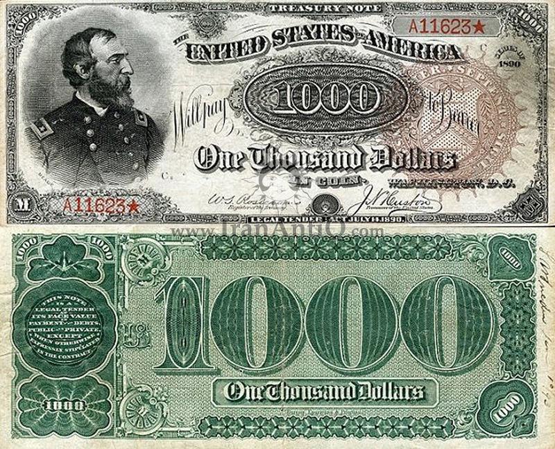 1000 دلار سری رایج خزانه داری - جورج مید - تیپ یک