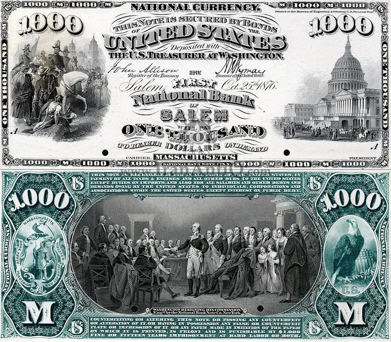 1000 دلار سری ملی - استعفای جورج واشنگتن