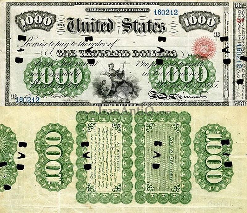 1000 دلار سری بهره دار - بانوی عدالت
