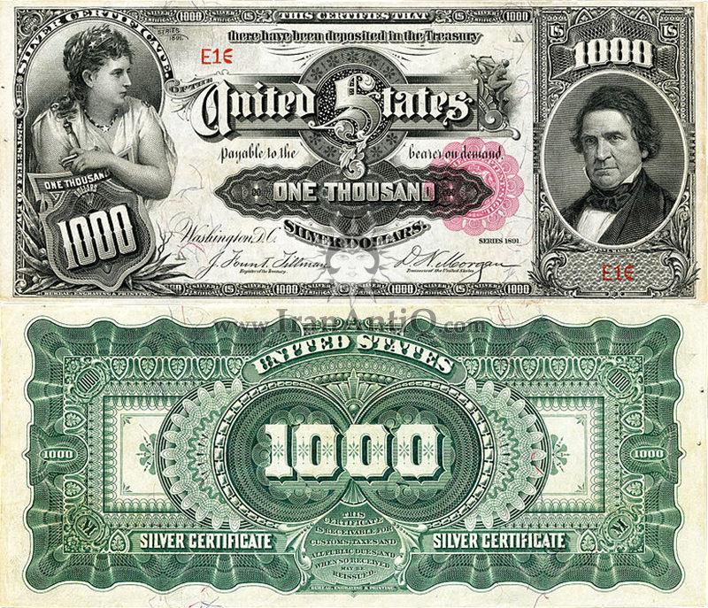 1000 دلار سری گواهی نقره - ویلیام مارسی