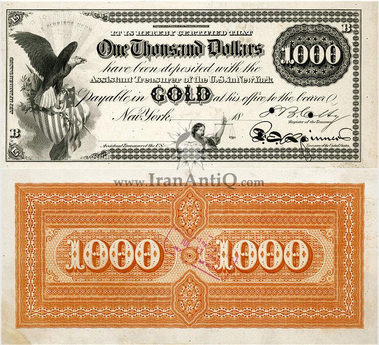 1000 دلار سری گواهی طلا - عقاب نشان