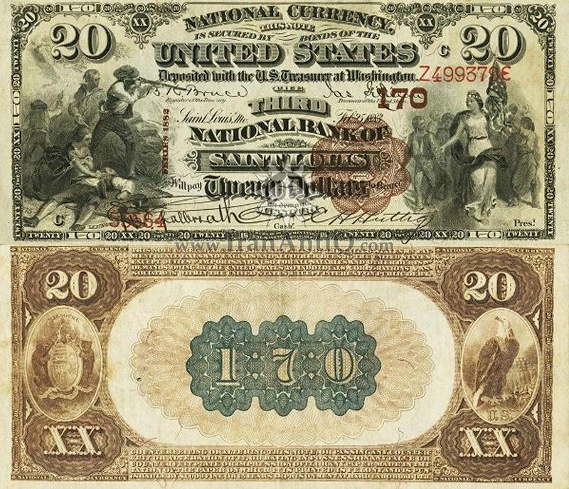 20 دلار سری ملی - مُهر قهوه ای