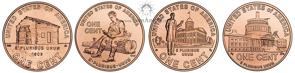 پشت سکه های  یک سنت سری دویست سالگی لینکلن - Lincoln Bicentennial One Cent