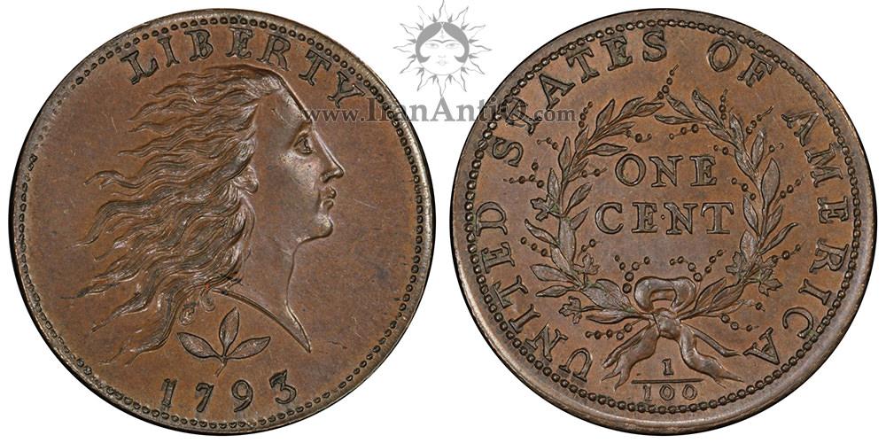 سکه یک سنت موی افشان - تاج زیتون