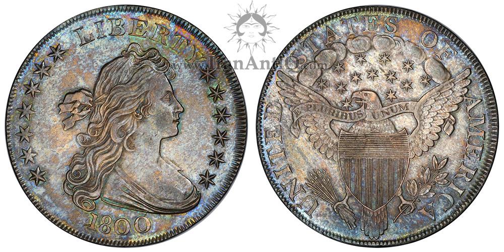 سکه یک دلار نیم تنه - عقاب نشان - Draped Bust One Dollar - Heraldic eagle