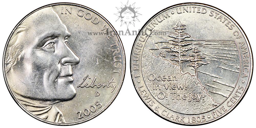 سکه پنج سنت جفرسون - یادبود توسعه غرب - تصویر پشت سکه : ساحل اقیانوس آرام